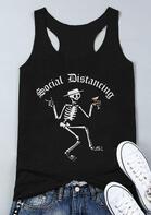 Social Distancing Skeleton Tank - Black