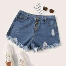 Ubergrosse Jeans Shorts mit Rissen