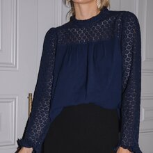 Lace Flounce Sleeve Stand Collar Top