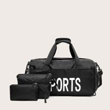 3 piezas bolsa de equipaje con letra con bolsa clutch