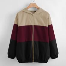 Plus Colorblock Zip Up Hooded Sports Jacket