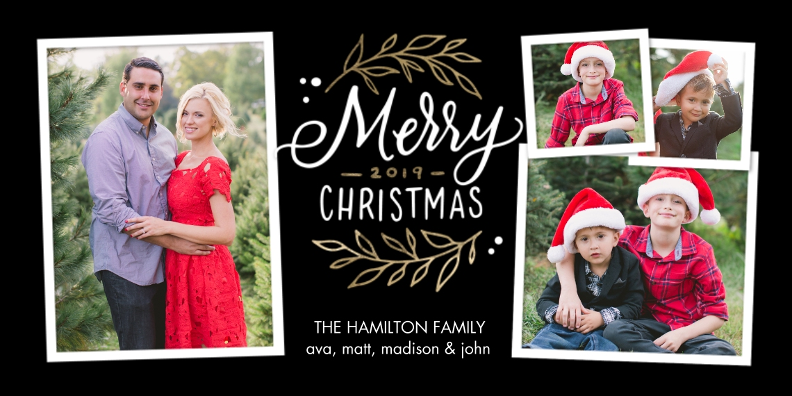 Christmas Photo Cards Flat Matte Photo Paper Cards with Envelopes, 4x8, Card & Stationery -Christmas 2019 Rustic Foliage by Tumbalina