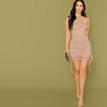 Ruched Drawstring Detail Bodycon Dress