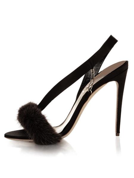 Milanoo High Heel Sandals Womens Satin Furry Open Toe Slingback Stiletto Heel Sandals