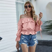 Off Shoulder Knot Detail Sleeve Ruffle Trim Top