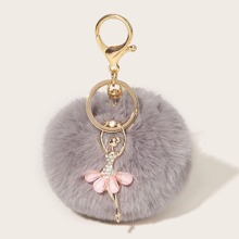 Faux Fur Pom Pom Charm Key Chain