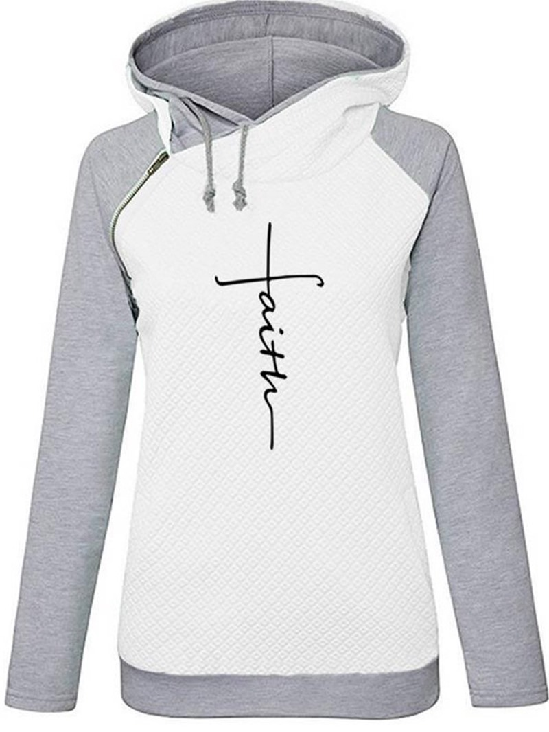 Ericdress Raglan Sleeve Letter Print Winter Hooded Hoodies