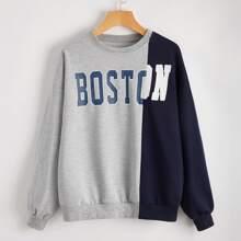 Letter Colorblock Oversized Sweatshirt
