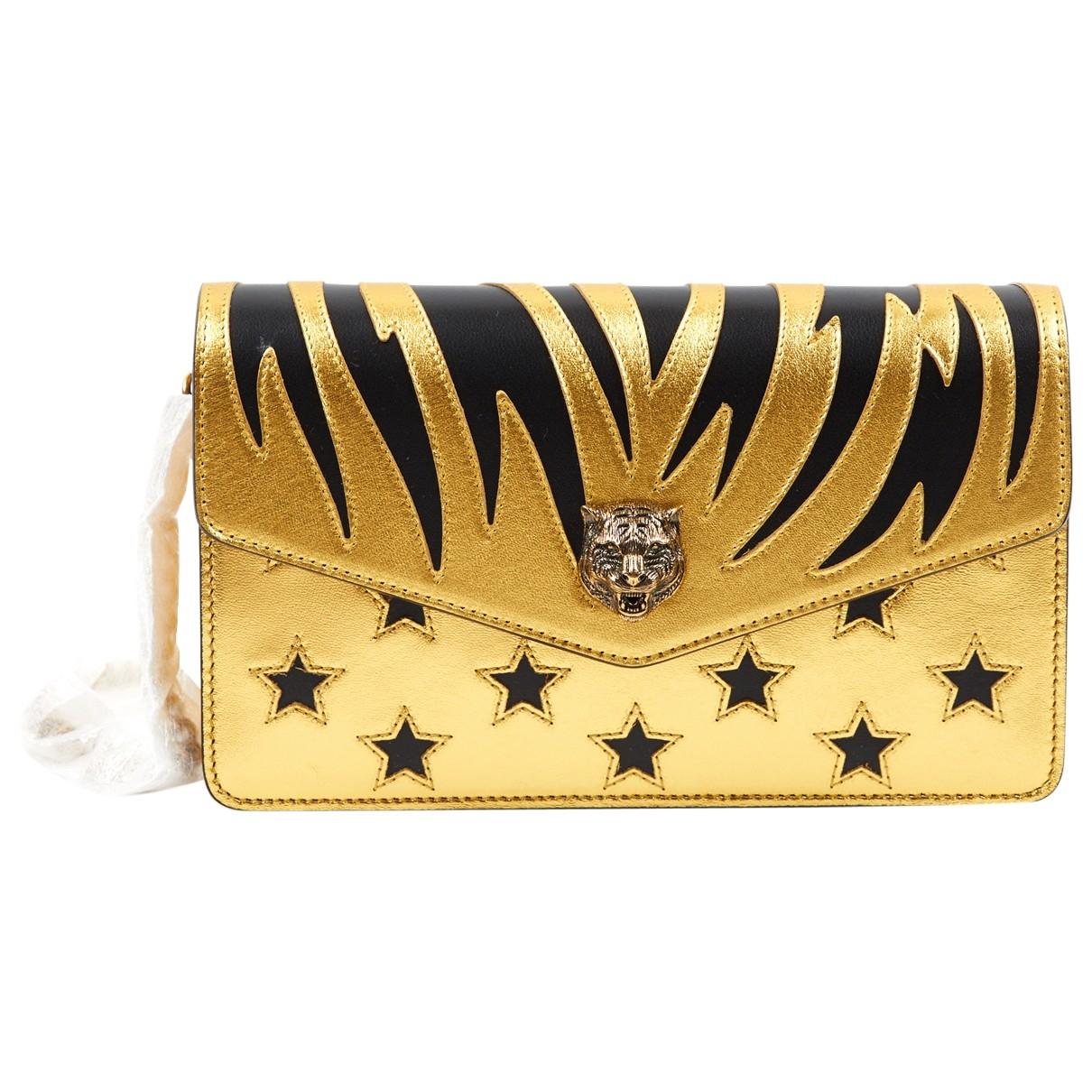 Gucci Rajah Clutch in  Gold Leder