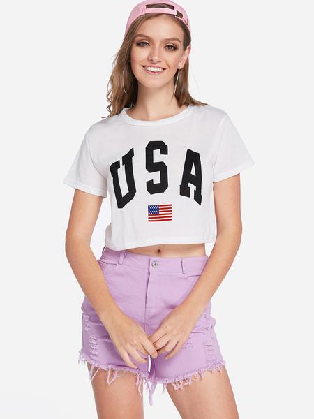 Yoins White Letter Round Neck Crop T-shirts
