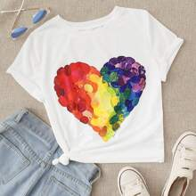 T-Shirt mit Herz Muster