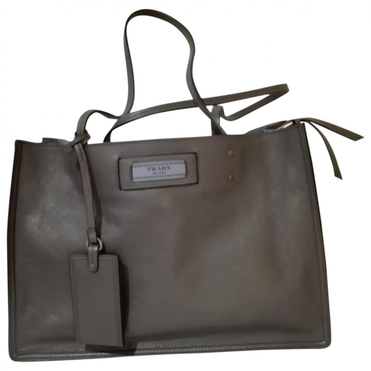 Prada - Sac a main Etiquette pour femme en cuir - gris