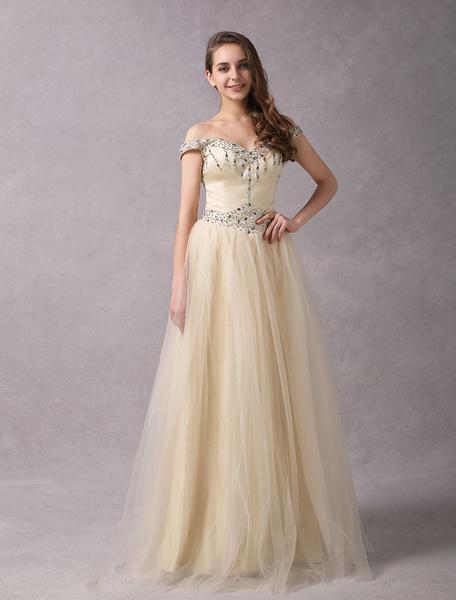 Milanoo Vestidos de novia de Champagne con hombros descubiertos Tulle color Maxi Vestidos de novia