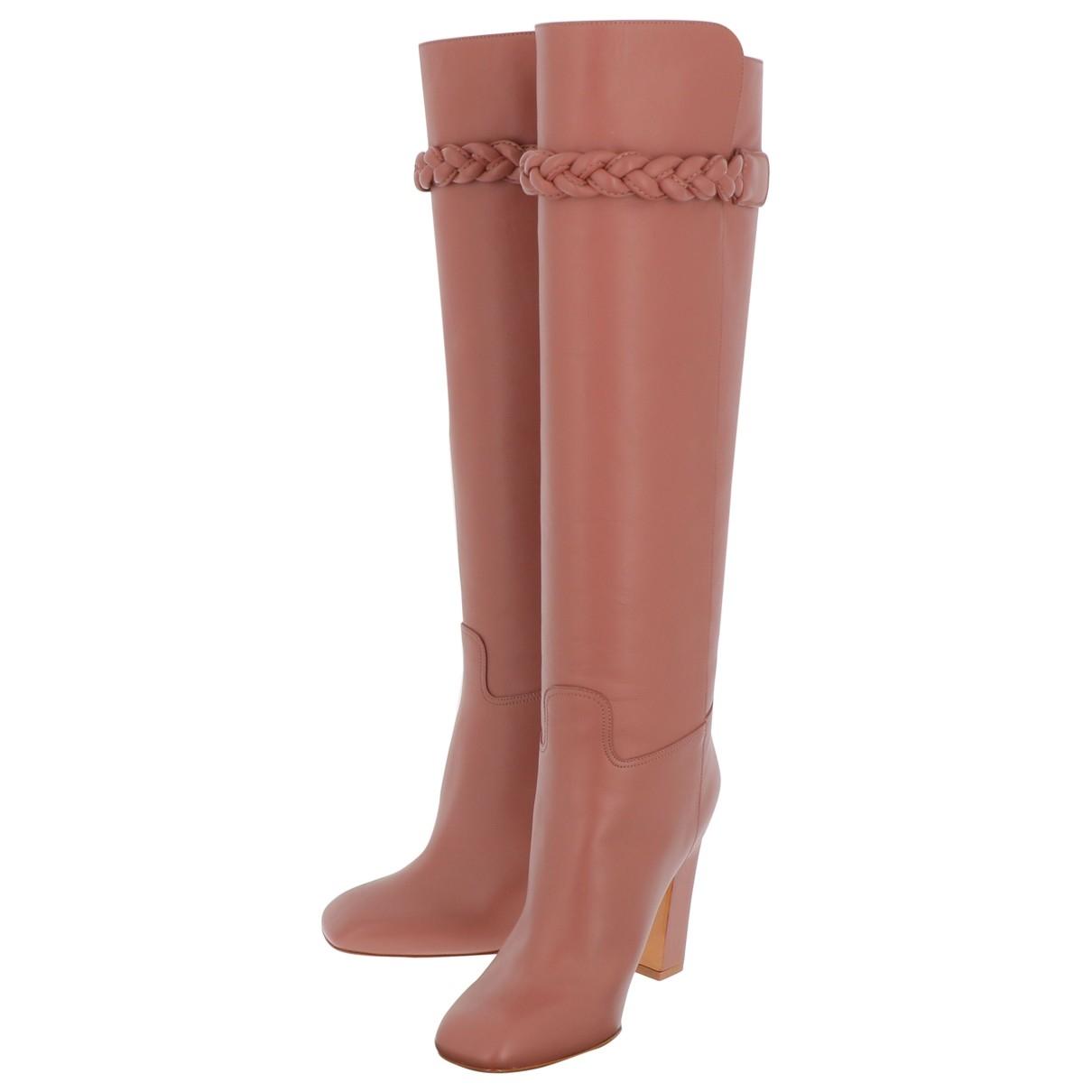 Valentino Garavani \N Pink Leather Boots for Women 36 EU