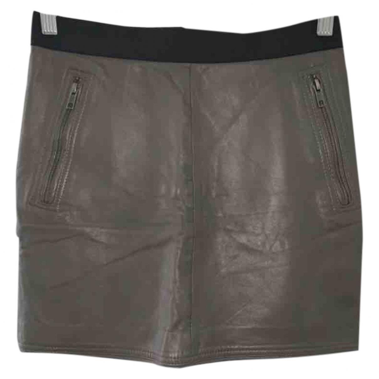 Sandro \N Khaki Leather skirt for Women 36 FR