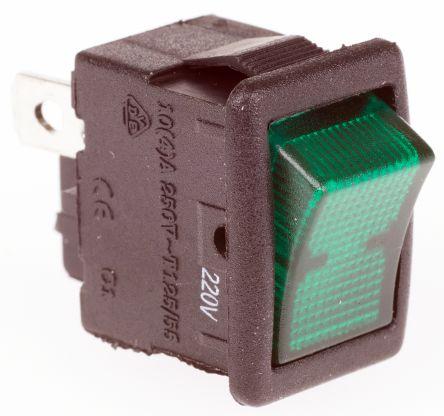 ZF Illuminated Single Pole Single Throw (SPST), On-None-Off Rocker Switch Panel Mount