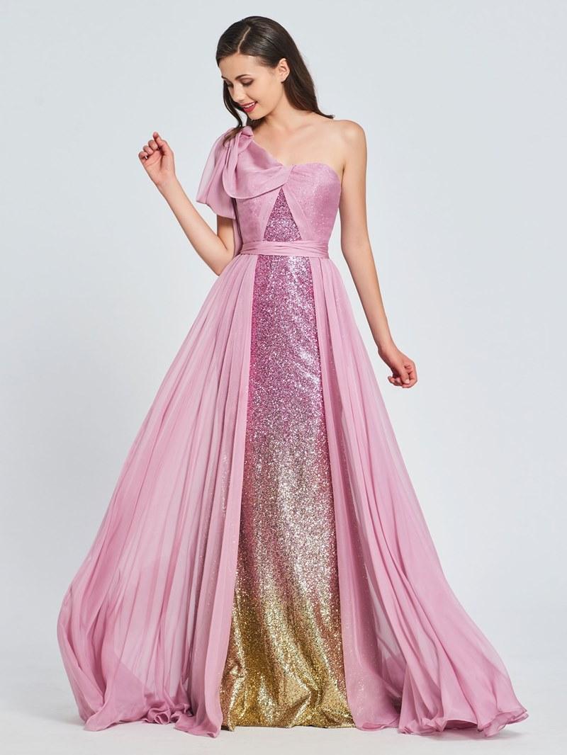Ericdress A Line One Shoulder Sequin Multi-Color Prom Dress