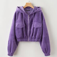 Plus O-Ring Zipper Crop Corduroy Jacket