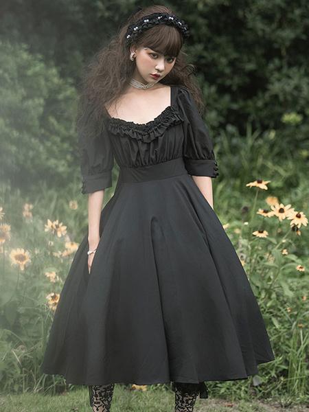 Milanoo Vestido gotico Lolita OP Carol Manor Vestido Lolita de una pieza de media manga