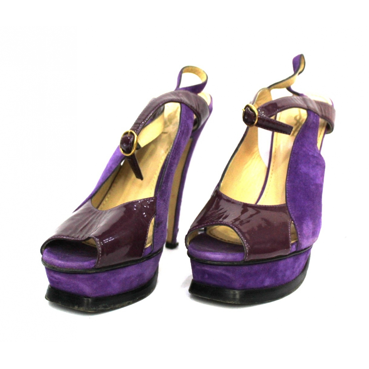 Yves Saint Laurent \N Purple Patent leather Sandals for Women 39 EU