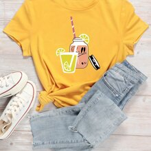 Camiseta con estampado de jugo de dibujos animados y letra