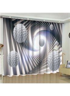 3D White Balls Printed 2 Panels Custom Living Room Blackout Window Drape