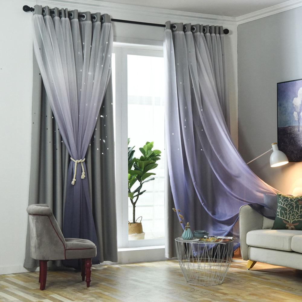 Princess Gradient Blackout Decoration Heat Insulation Custom Curtain Sets for Living Room Bedroom 84W 84L 2 Panel Set