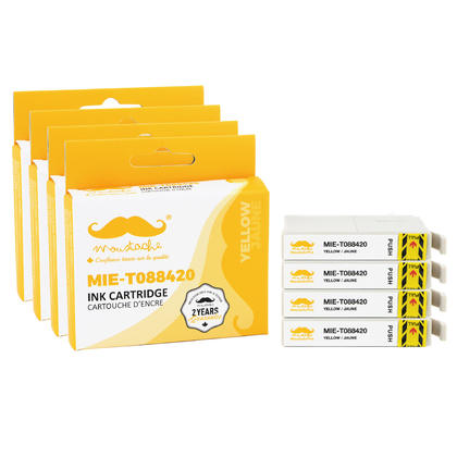 Compatible Epson 88 T088420 Yellow Ink Cartridge - Moustache@ - 4/Pack