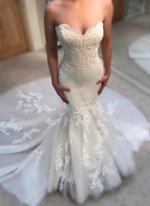 Vestidos de boda elegantes de la sirena del verano | Vestidos de novia sin mangas de cuello apliques sin mangas