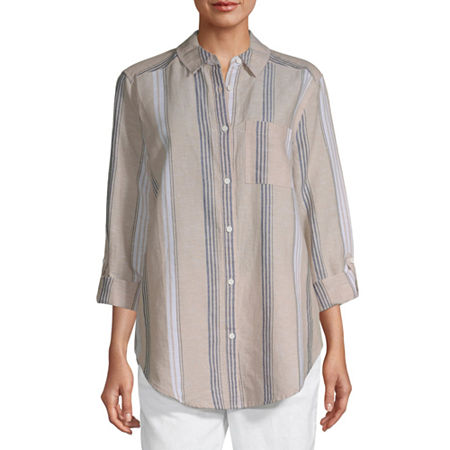 Liz Claiborne Long Sleeve Linen Tunic - Tall, X-large Tall , Brown