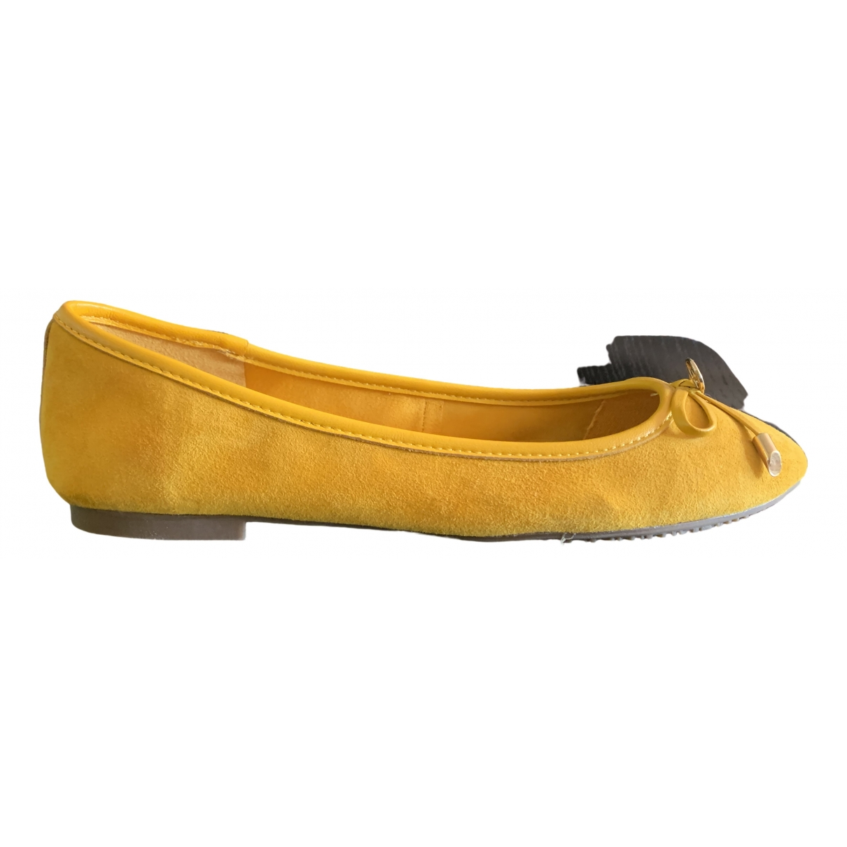 Dune \N Ballerinas in  Gelb Veloursleder