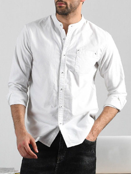 Yoins INCERUN Men Fashion Brief Long Sleeve Stand Collar Solid Color Casual Cotton Shirt