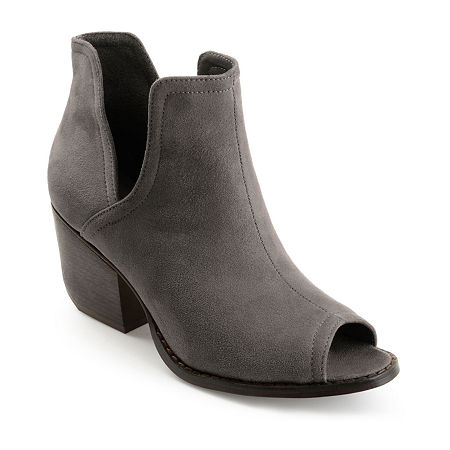 Journee Collection Womens Jordyn Stacked Heel Pull-on Booties, 6 1/2 Medium, Gray
