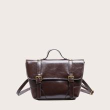 Bolso cartera con asa con hebilla de pin delantera