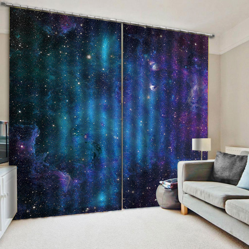 3D Galaxy Decorative Blackout Window Curtains for Living Room Bedroom No Pilling No Fading No off-lining Blocks Out 80% of Light and 90% of UV Ray