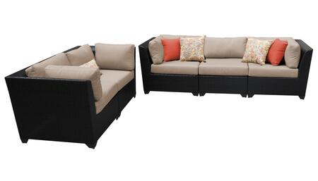 Barbados BARBADOS-05a 5-Piece Wicker Patio Set 05a with 4 Corner Chairs and 1 Armless Sofa - 1 Wheat