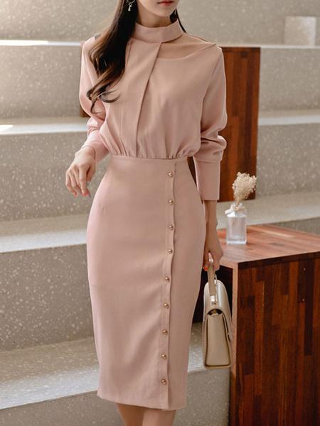 Milanoo Bodycon Dresses Pink Long Sleeves Buttons Retro Stand Collar Sheath Dress Sheath Dress