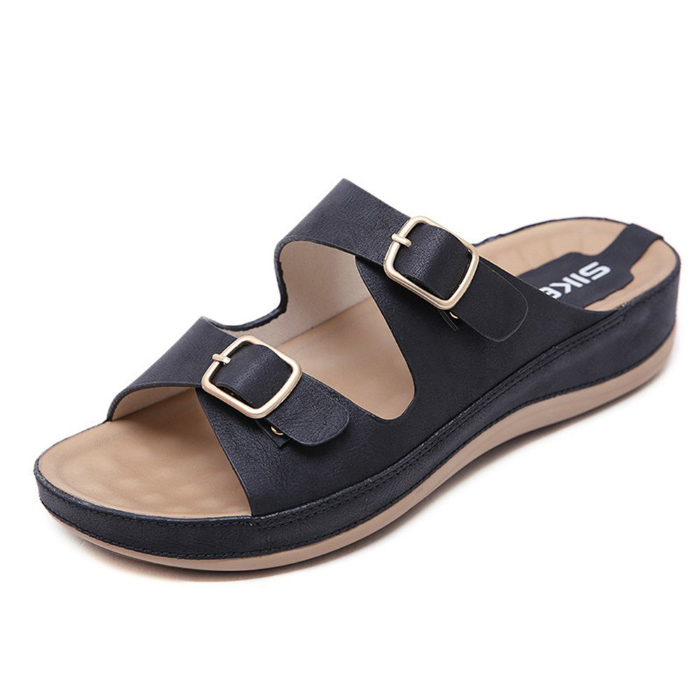 Buckle Decoration Opened Toe Slip On Summer Casual Sandals