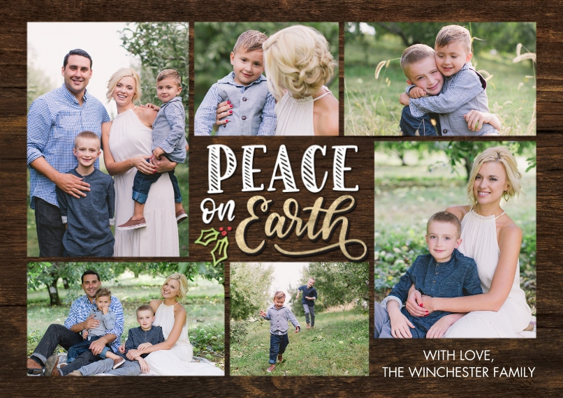 Christmas Photo Cards 5x7 Cards, Premium Cardstock 120lb, Card & Stationery -Christmas Peace on Earth Collage by Tumbalina