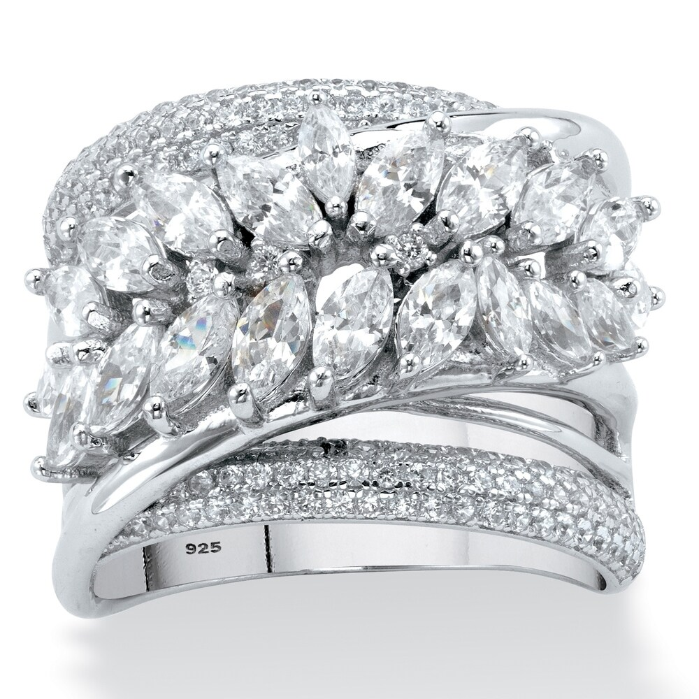 Platinum over Sterling Silver Cubic Zirconia Ring (6)