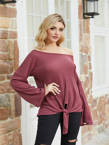 YOINS Burgundy One Shoulder Knotted Knit Top