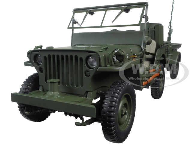 Jeep Willys Army Green with Trailer and Accessories 1/18 Diecast Model by Autoart
