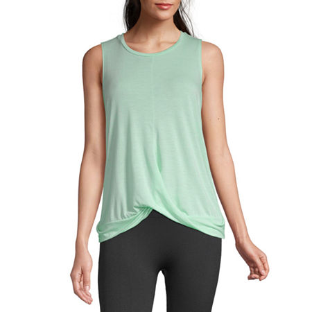 Xersion Womens Crew Neck Sleeveless Tank Top, Large , Green