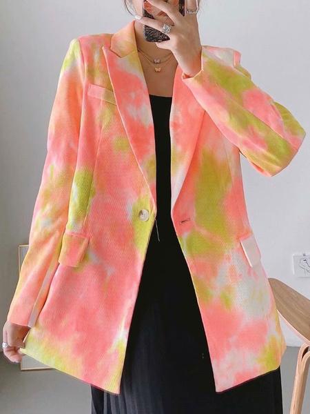Milanoo Chaqueta casual de algodon para mujer, cuello vuelto, manga larga, botones, chaquetas