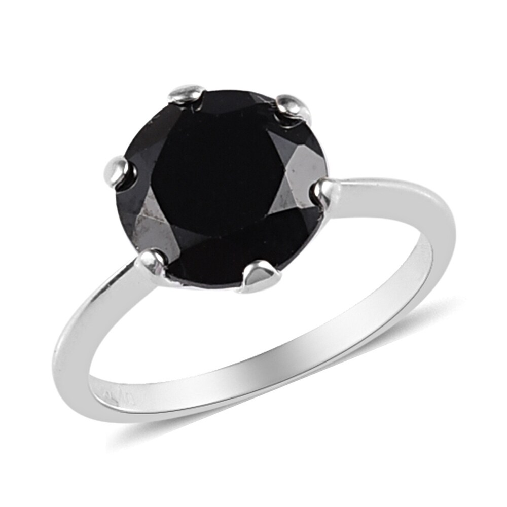 925 Sterling Silver Black Spinel Solitaire Ring Size 6 Ct 3.4 - Ring 6 (Black - Spinel - Black - White - Ring 6)