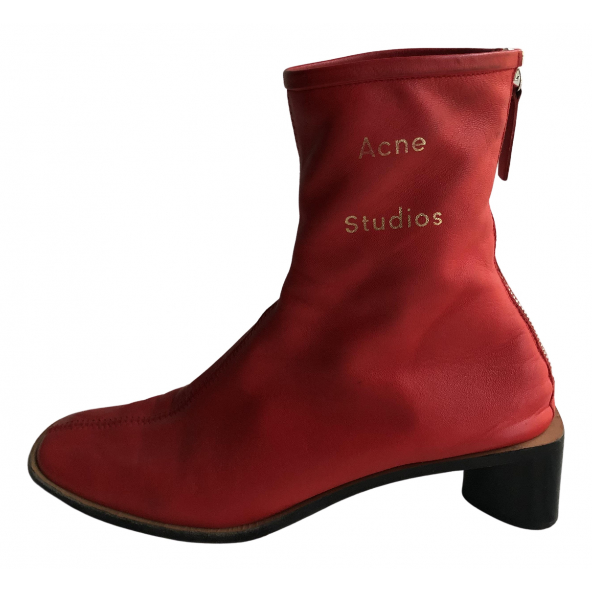 Acne Studios N Red Leather Boots for Women 37 EU