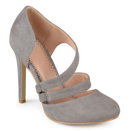 Journee Collection Womens Zeera Pumps Stiletto Heel, 8 Medium, Gray
