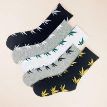 5 pares calcetines de hombres con patron de hoja