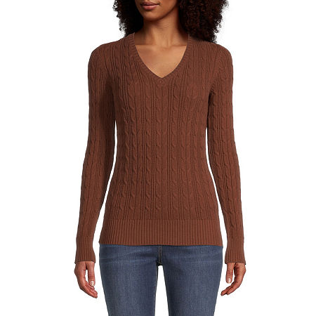 St. John's Bay Cable Womens V Neck Long Sleeve Pullover Sweater, Large , Brown