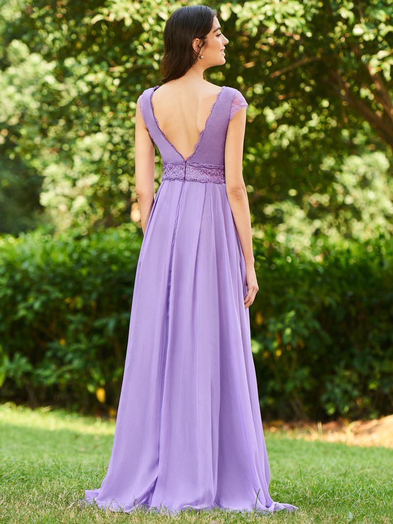 Ericdress Cap Sleeve Lace Long Bridesmaid Dress